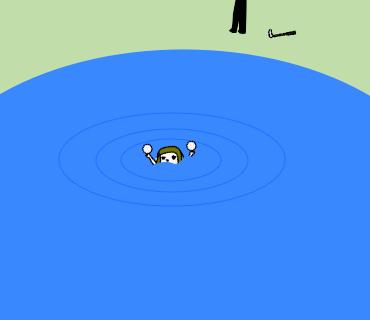 池から出てくる何か