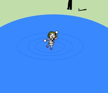 池から歩いてくる何か
