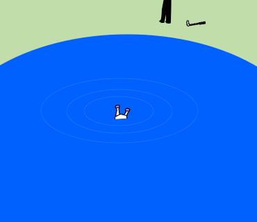 池に戻っていく何か