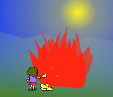 畑で燃やします