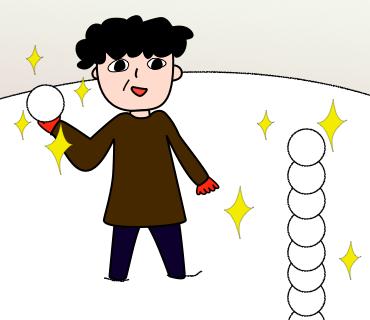 07ベテランキャディが雪玉を投げつける